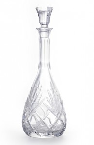 crystal wine carafe isolated on a white background